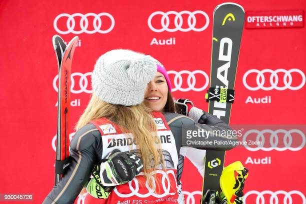 Wendy Holdener of Switzerland takes 2nd place Mikaela Shiffrin of USA takes 1st place during the Audi FIS Alpine Ski World Cup Women's Slalom on...