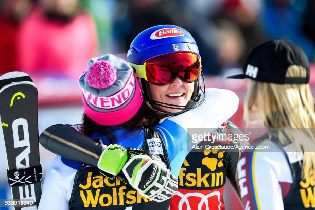 Wendy Holdener of Switzerland takes 2nd place Mikaela Shiffrin of USA takes 1st place during the Audi FIS Alpine Ski World Cup Finals Women's Slalom...