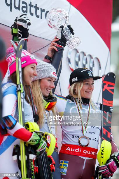 Wendy Holdener of Switzerland takes 2nd place Mikaela Shiffrin of USA wins the globe Frida Hansdotter of Sweden takes 3rd place during the Audi FIS...