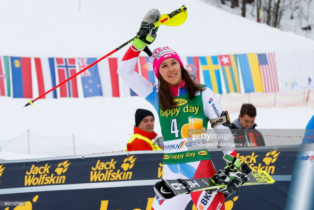 Wendy Holdener of Switzerland takes 3rd place during the Audi FIS Alpine Ski World Cup Women's Slalom on January 7, 2018 in Kranjska Gora, Slovenia.