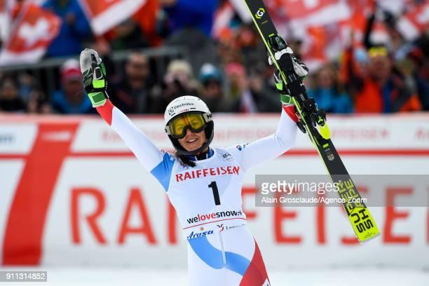 Wendy Holdener of Switzerland takes 3rd place during the Audi FIS Alpine Ski World Cup Women's Slalom on January 28 2018 in Lenzerheide Switzerland