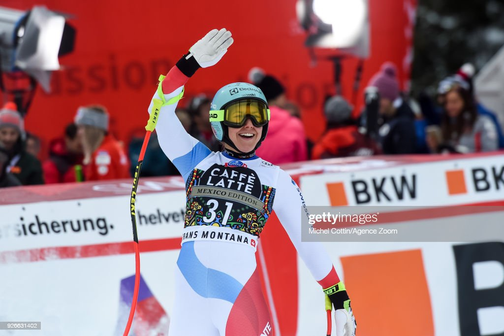 Wendy Holdener of Switzerland takes 3rd place during the Audi FIS Alpine Ski World Cup Women's Super G on March 3, 2018 in Crans-Montana, Switzerland.