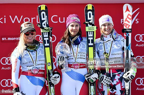 Wendy Holdener of Switzerland wins the crystal globe Lara Gut of Switzerland takes 2nd place Michaela Kirchgasser of Austria takes 3rd place in the...