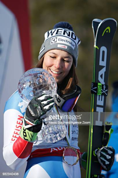 Wendy Holdener of Switzerland wins the globe in the women alpine combined standing during the Audi FIS Alpine Ski World Cup Finals Men's and Women's...