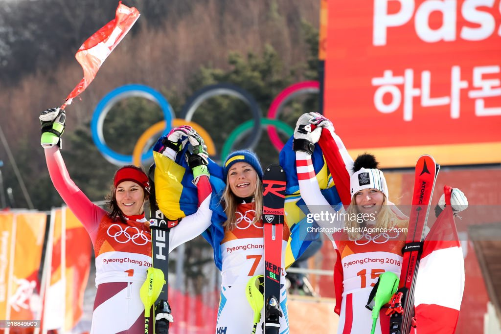 Wendy Holdener of Switzerland wins the silver medal, Frida Hansdotter of Sweden wins the gold medal, Katharina Gallhuber of Austria wins the bronze medal during the Alpine Skiing Women's Slalom at Yongpyong Alpine Centre on February 16, 2018 in Pyeongchang-gun, South Korea.
