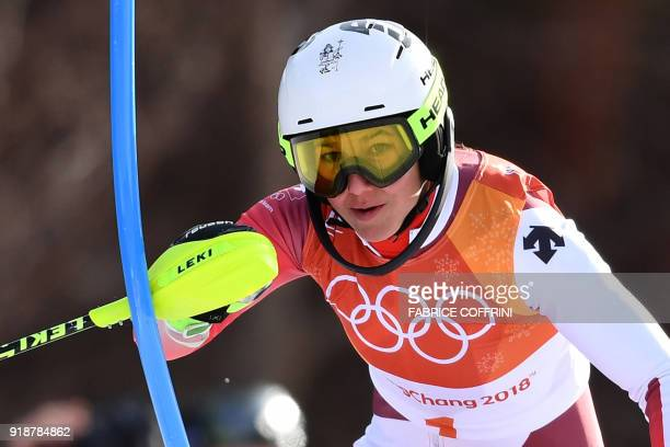 Wendy Holdener Switzerland's competes in the Women's Slalom at the Jeongseon Alpine Center during the Pyeongchang 2018 Winter Olympic Games in...