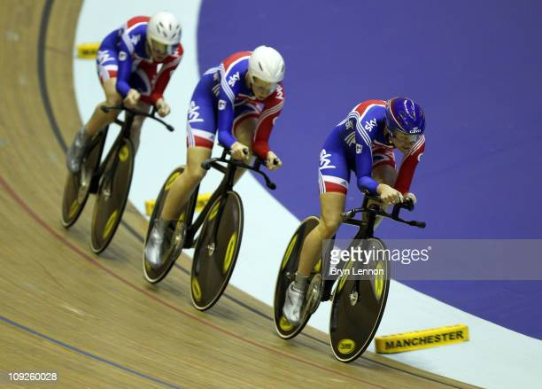 Wendy Houvenaghel Joanna Rowsell and Sarah Storey of Great Britain compete in the Women's Team Pursuit qualification during day one of the UCI Track...