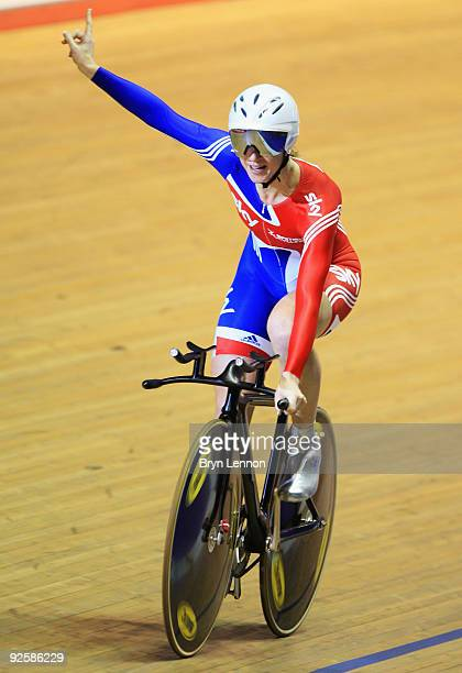 Wendy Houvenaghel of Great Britain and Team GB waves to the crowds after winning the Women's Individual Pursuit on day two of the UCI Track Cycling...