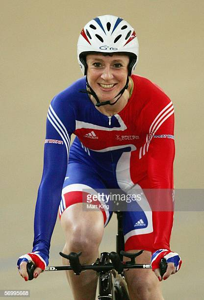 Wendy Houvenaghel of Great Britain celebrates after winning the Womens Individual Pursuit Final during day two of the 2006 UCI Track Cycling World...