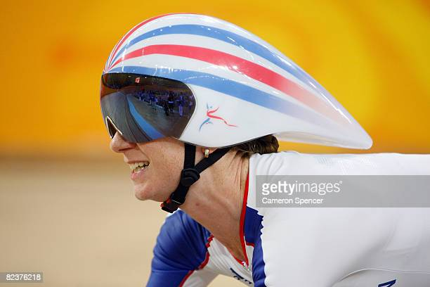 Wendy Houvenaghel of Great Britain competes in the women's individual pursuit first round track cycling event at the Laoshan Velodrome on Day 8 of...