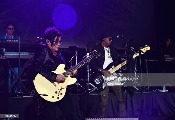Wendy Melvoin and Brown Mark of the band The Revolution perform onstage at American Express Justin Timberlake Partner for Intimate Album Listening...