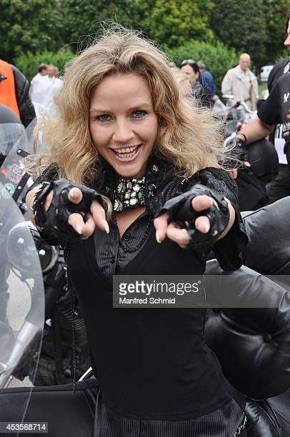 Wendy Night poses for a photograph during the Harley Davidson Charity Tour 2014 Kick Off at Heldenplatz on August 13 2014 in Vienna Austria Hundreds...