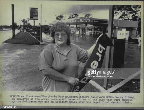 Wendy O'Dowd an employee at the AMPOL restaurant owner of one of the cars that were smashed by the Policeman who had an accident while over the legal...