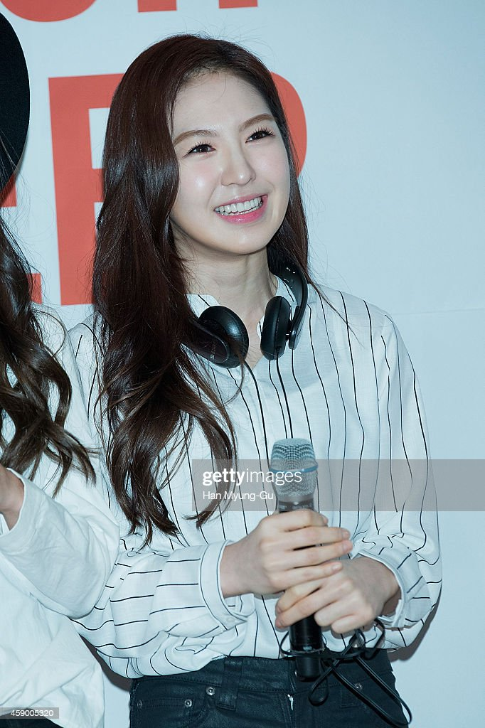 Wendy of girl group Red Velvet poses for photographs at the launch event for new products of 'SHURE' on November 14, 2014 in Seoul, South Korea.