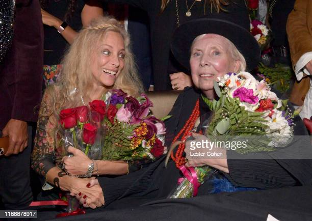 Wendy Oxenhorn and Joni Mitchell attend the Jazz Foundation honors Joni Mitchell And Wayne Shorter at Vibrato on November 10, 2019 in Los Angeles,...