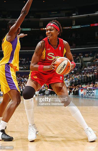 Wendy Palmer of the Connecticut Sun tries to penetrate the lane against the Los Angeles Sparks during their WNBA game at Staples Center on July 20...