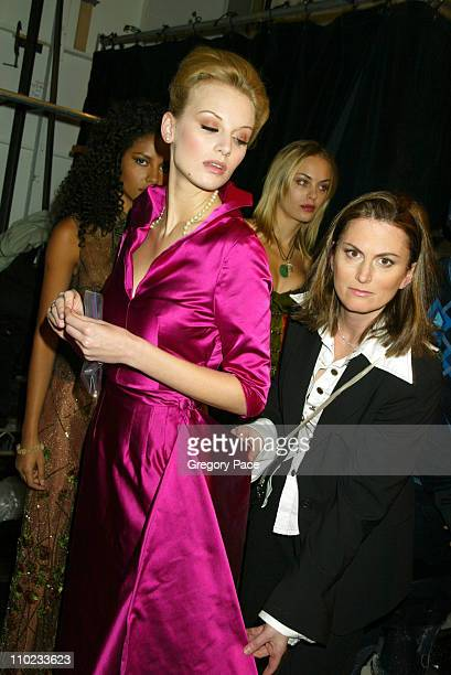 Wendy Pepper designer and finalist in the 'Project Runway' reality show on Bravo with a model backstage wearing one of her designs