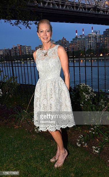 Wendy Schmidt president of the Schmidt Family Foundation stands for a photograph at a party celebrating her Oil Cleanup X CHALLENGE in New York US on...