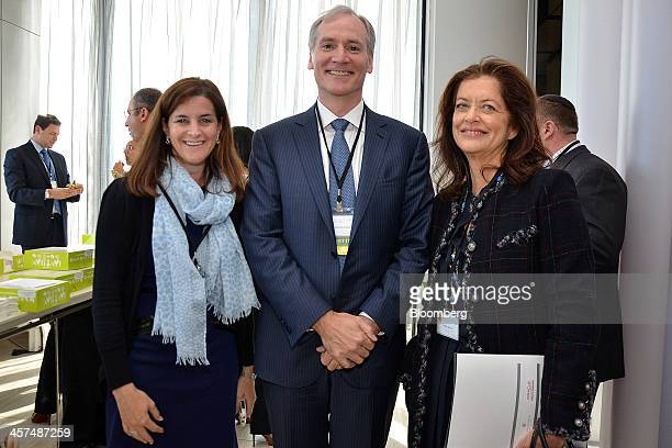 Wendy Selig, president and chief executive officer of the Melanoma Research Alliance , left, Marc Tessier-Lavigne, president of Rockefeller...