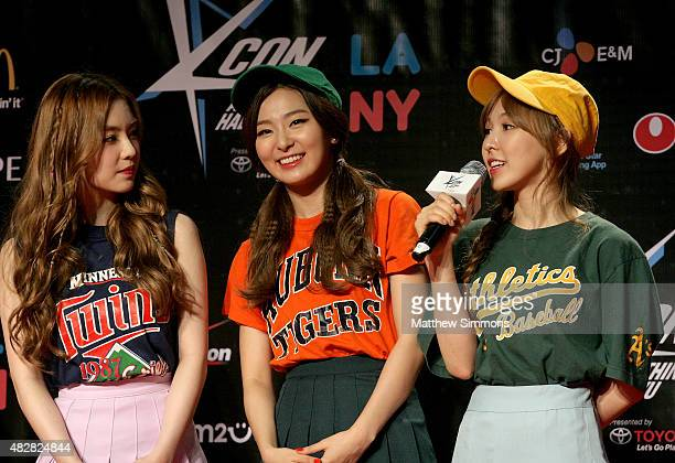 Wendy Seulgi and Irene of South Korean girl group Red Velvet attend KCON 2015 at the Los Angeles Convention Center on August 2 2015 in Los Angeles...