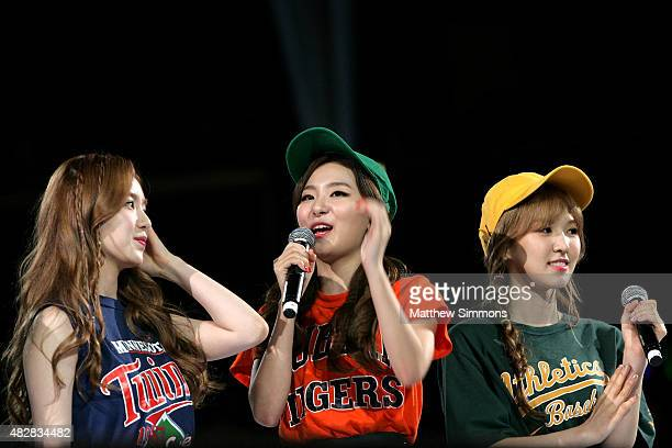 Wendy Seulgi and Irene of South Korean girl group Red Velvet perform onstage at KCON 2015 at the Staples Center on August 2 2015 in Los Angeles...