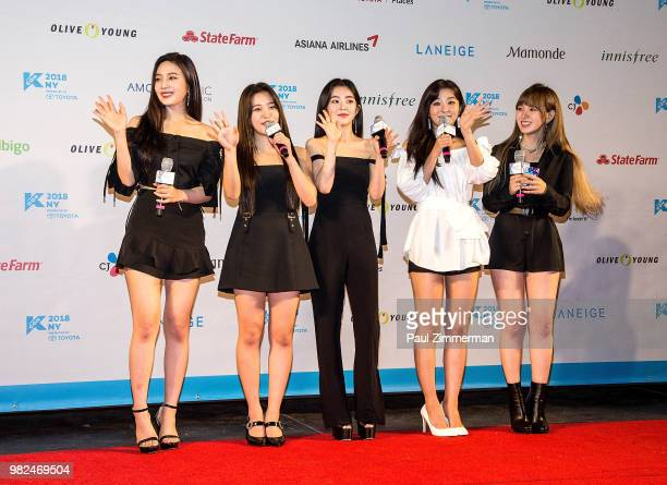 Wendy Seulgi Irene Yeri and Joy of girl band Red Velvet attend the red carpet at KCON Day 1 2018 NY presented by Toyota at Prudential Center on June...