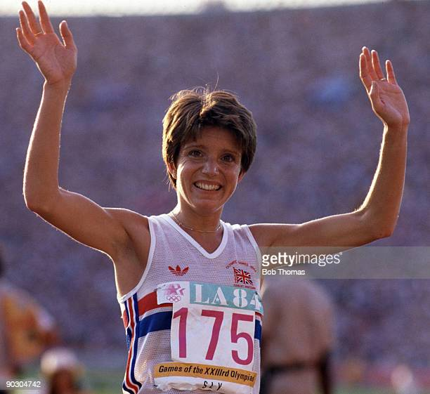 Wendy Sly of Great Britain celebrates after finishing in 2nd place to win the silver medal in the final of the Woman's 3000 metres event at the 1984...