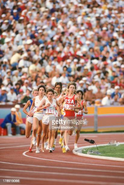 Wendy Sly Zola Budd and Mary Decker lead the pack during the Women's 3000 meter final of the 1984 Olympics held in the Los Angeles Memorial Coliseum...