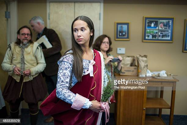 Wendy Taylor of King William Va The actor/interpreter portraying Pocahontas is pictured in costume before a performance commemorating the 400th...