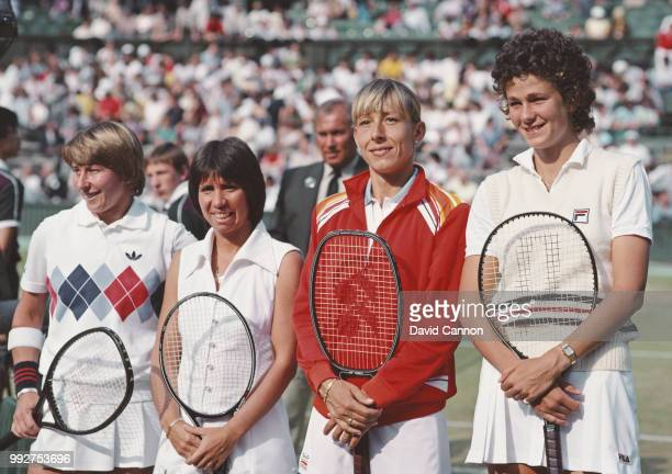 Wendy Turnbull, Rosie Casals, Martina Navratilova and Pam Shriver pose for a picture before the Women's Doubles Final at the Wimbledon Lawn Tennis...