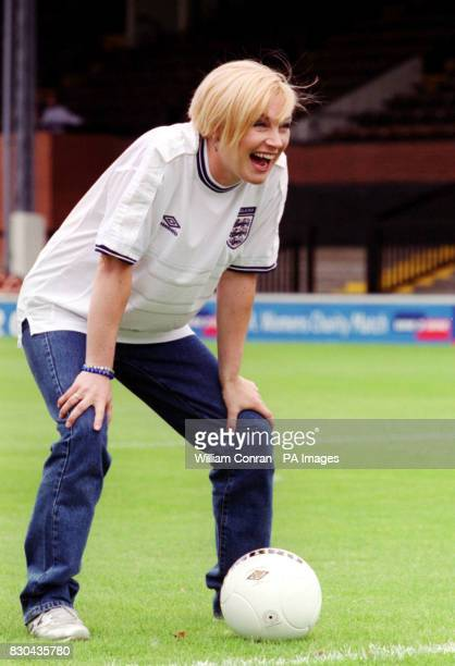 Wendy Turner from Channel 4's Pet Rescue taking part in the prematch penalty shoot out before the inaugral Women's Charity Shield football match...