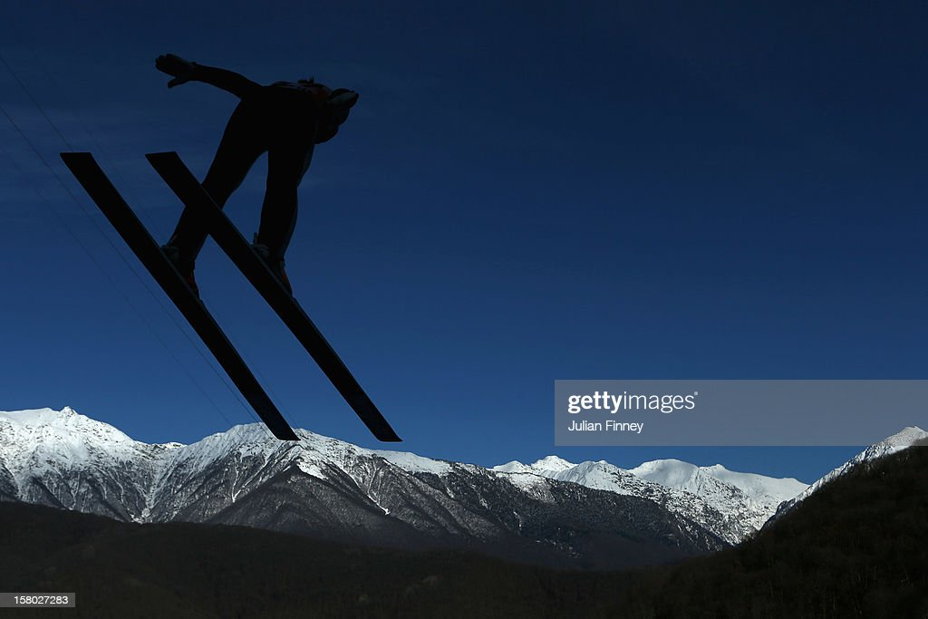 Wendy Vuik of Netherlands competes in a Ski Jump during the FIS Ski Jumping World Cup at the RusSki Gorki venue on December 9, 2012 in Sochi, Russia.