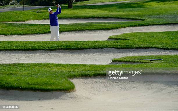 Wendy Ward hits out of the bunker on the 10th fairway during Round Two the LPGA 2013 Kia Classic at the Park Hyatt Aviara Resort in Carlsbad...