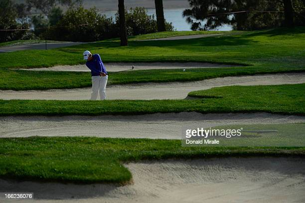 Wendy Ward hits out of the bunker on the 10th fairway during Round Two the LPGA 2013 Kia Classic at the Park Hyatt Aviara Resort on March 22 2013 in...