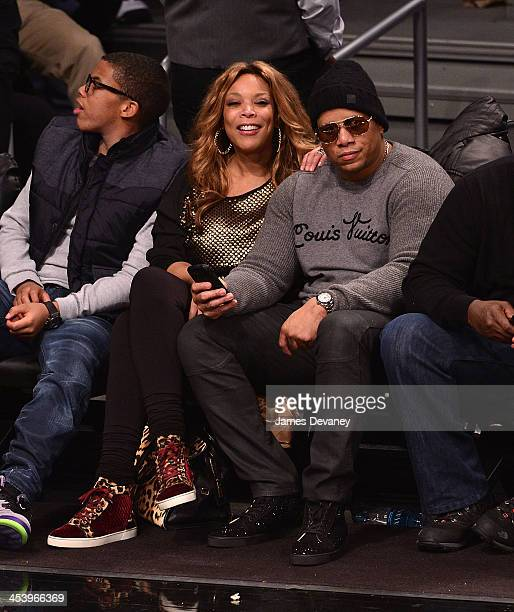 Wendy Williams and Kevin Hunter attend the New York Knicks vs Brooklyn Nets game at Barclays Center on December 5 2013 in New York City