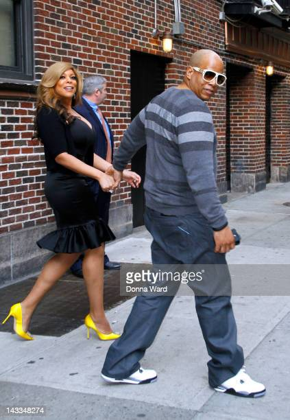 Wendy Williams and Kevin Hunter leave 'The Late Show with David Letterman' at Ed Sullivan Theater on April 24 2012 in New York City