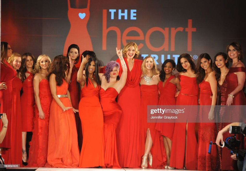 Wendy Williams, Cindy Parsons, Nastia Liukin, Minka Kelly, Kendall Jenner, Kylie Jenner, Toni Braxton, Kelly Osbourne, Brenda Strong, Torah Bright, Gabrielle Douglas, Soledad O'brien, Roselyn Sanchez, Jamie Chung and Savannah Guthrie on the runway during The Heart Truth 2013 Fashion Show held at the Hammerstein Ballroom on February 6, 2013 in New York City.