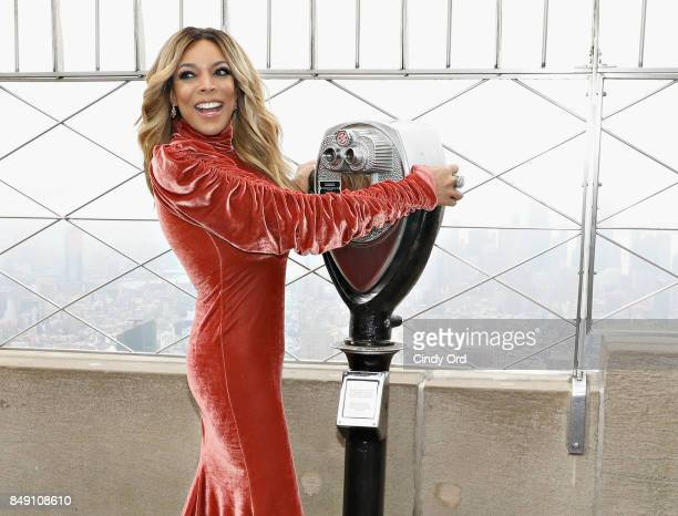 Wendy Williams poses for a photo on the observation deck after taking part in the ceremonial lighting of the Empire State Building to celebrate the...