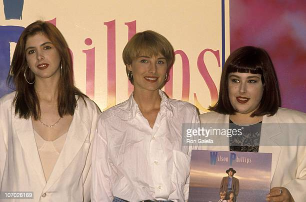 Wendy Wilson Chynna Phillips and Carnie Wilson during Wilson Phillips Signs their New Album Wilson Phillips at Tower Records in Hollywood July 9 1990...