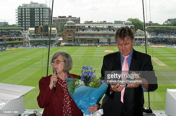Wendy Wimbush in the Press Box at Lord's on her retirement Graham Morris chairman of the Cricket Writers' Club holds an engraved glass bowl which he...