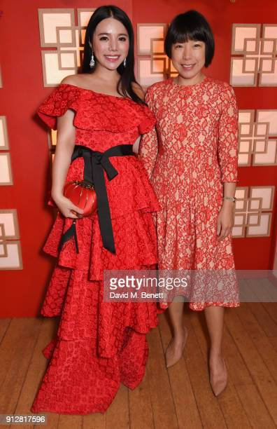 Wendy Yu and Angelica Cheung attend Wendy Yu's Chinese New Year Celebration at Kensington Palace on January 31 2018 in London United Kingdom