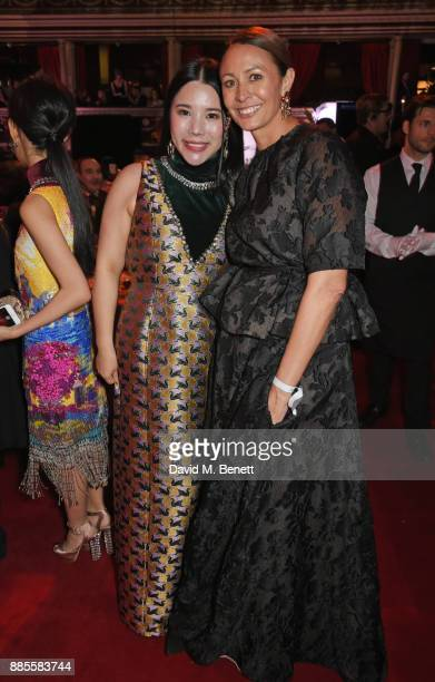 Wendy Yu and Caroline Rush attend a drinks reception ahead of The Fashion Awards 2017 in partnership with Swarovski at Royal Albert Hall on December...