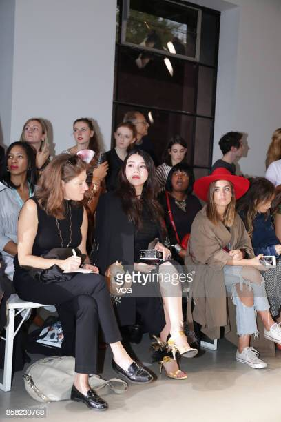 Wendy Yu attends the Andrew Gn show as part of the Paris Fashion Week Womenswear Spring/Summer 2018 on September 29 2017 in Paris France
