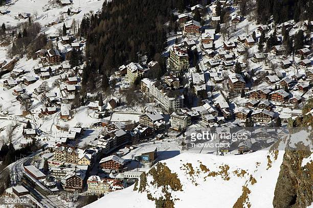 General view of the Swiss resort of Wengen pictured during the first Alpine skiing World Cup men Slalom downhill training session in Wengen 11...