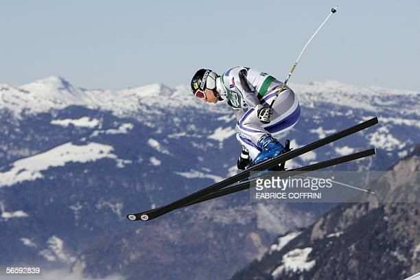 Kjetil Andre Aamodt of Norway is airborne 14 January 2006 over the Russi jump on his way to plave fifth in the Alpine skiing World Cup Men Downhill...