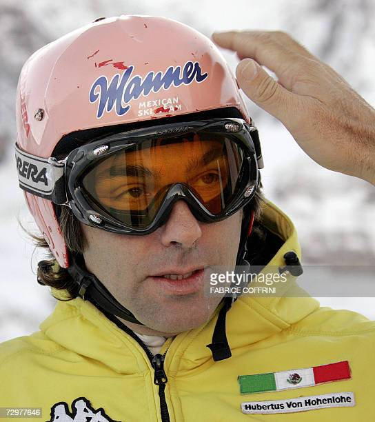 Mexican Alpine skier Prince Hubertus von Hohenlohe attends inspection prior to the Lauberhorn Men's ski World Cup downhill practice 11 January 2007...