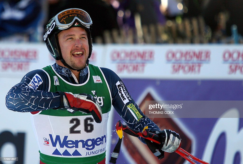 US Bode Miller jubilates in the finish area as he finnished first during the World Cup Alpine Skiing downhill race in Wengen, 13 January 2007. Miller won the race ahead of Switzerland's Didier Cuche and Italy's Peter Fill.