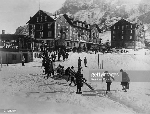 Wengen Winter Sports At Bernese Oberland In Switzerland