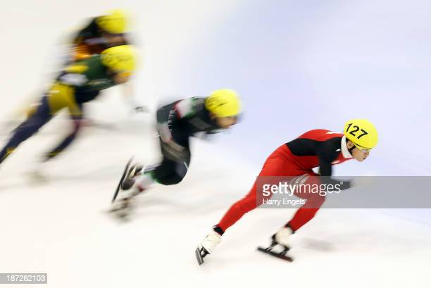 Wenhao Liang of China leads during the Men's 500m preliminaries during day one of the Samsung ISU Short Track World Cup at the Palatazzoli on...
