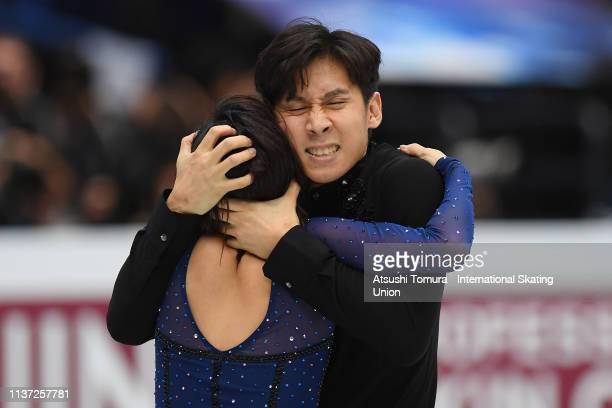 Wenjing Sui and Cong Han of China celebrate after the Pairs free skating during day 2 of the ISU World Figure Skating Championships 2019 at Saitama...